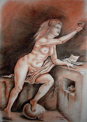 Drawing - An Allegory Of Nightmare Drinking Song by Nathalie Chavieve
