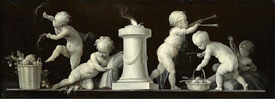 Dirk Van Der Aa Painting - An Allegory Of Summer With Putti Disporting En Grisaille by Dirk van der Aa