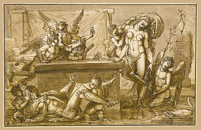 Drawing - An Allegory by Philippe-Auguste Hennequin