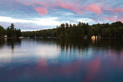 An Amazing Sunset On Old Forge Pond Art Print by David Patterson