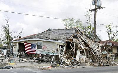 Tropical Storm Photograph - An American Flag Is Draped by Everett