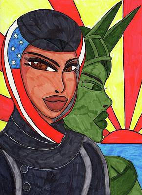 Art Of Hijab Mixed Media - An American Girl by Ronald Woods