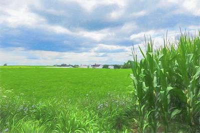 Amish Farms Digital Art - An Amish Farm Scenic Pennsylvania by Rusty Smith
