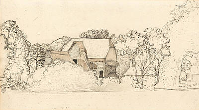 Landscape Drawing - An Ancient Barn At Shoreham by Samuel Palmer