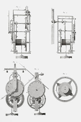 Mechanism Drawing - An Ancient Clock Built By Henry De Wick by Vintage Design Pics