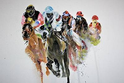 Painting - An Ancient Sport by Khalid Saeed