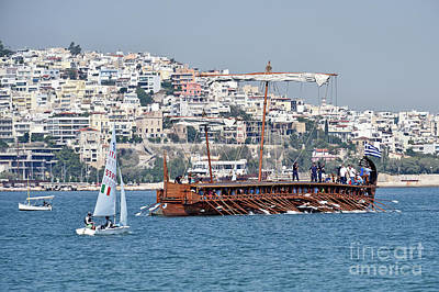 Photograph - An Ancient Trireme Sailing by George Atsametakis
