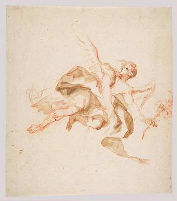 Drawing - An Angel Holding A Lily by Cosmas Damian Asam