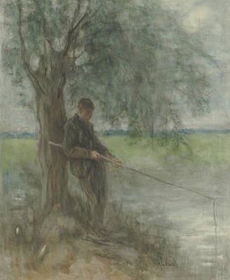 Jozef Israels Painting - An Angler by Jozef Israels