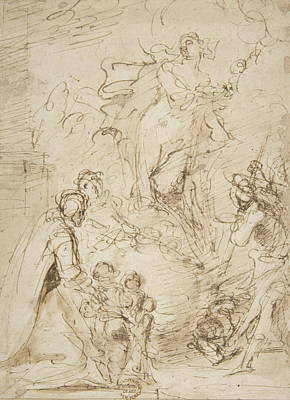 Drawing - An Apparition by Salvator Rosa