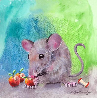 Mouse Mixed Media - An Apple A Day by Arline Wagner