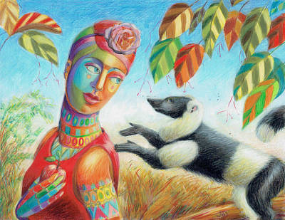 Drawing - An Apple For The Lemur by June Walker