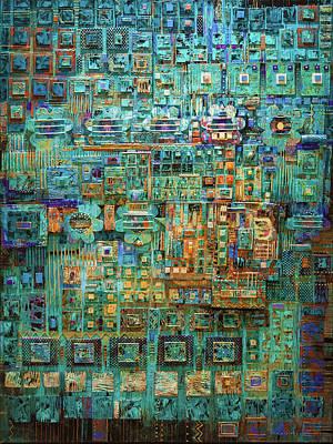 Non Objective Mixed Media - An Aquamarine Dream by Marjorie Sarnat