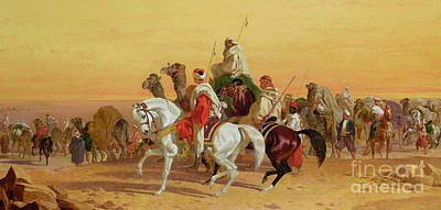 Sahara Painting - An Arab Caravan by John Frederick Herring Snr