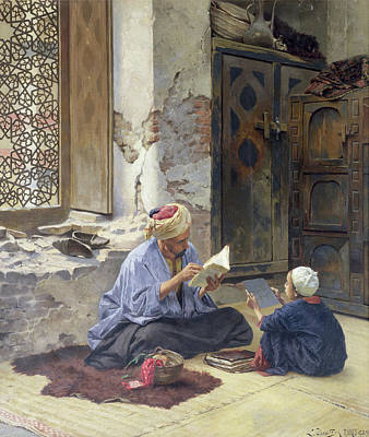 African Child Painting - An Arab Schoolmaster by Ludwig Deutsch