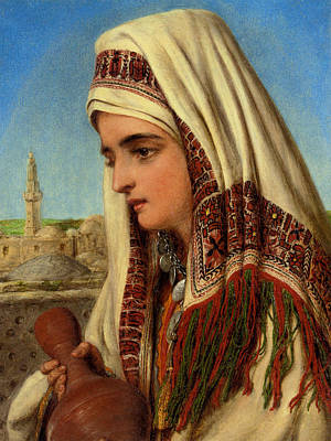 Water Painting - An Arab Woman With A Head Shawl Carrying A Water by Celestial Images