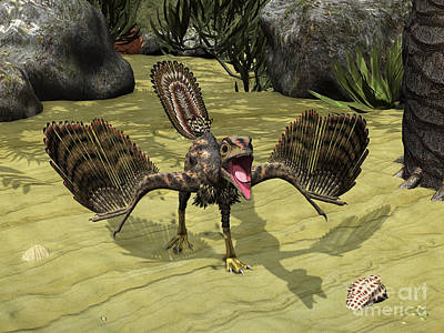 Prehistoric Era Digital Art - An Archaeopteryx Depicted by Walter Myers