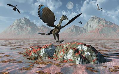 Triassic Digital Art - An Archaeopteryx Landing On A Rock by Mark Stevenson