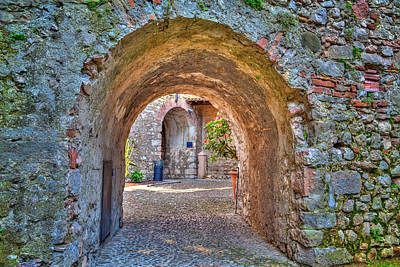 Photograph - an archway in the Scaliger Castle of the charming village Malcesine by Regina Koch