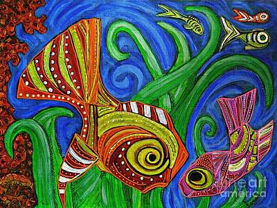 Reef Shark Mixed Media - An Argument At The Fish Carnival by Sarah Loft