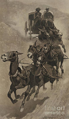 Wild Horses Drawing - An Army Mail Ambulance by Frederic Remington