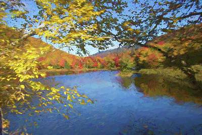 Digital Art - An Art Photograph Of A Pond With Bright Fall Colors On The Shoreline. by Rusty R Smith