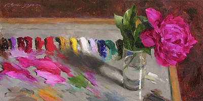 Peony Painting - An Artist's Playground by Anna Rose Bain