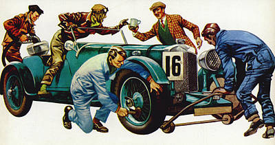 Transportation Painting - An Aston Martin Racing Car, Vintage 1932 by Peter Jackson