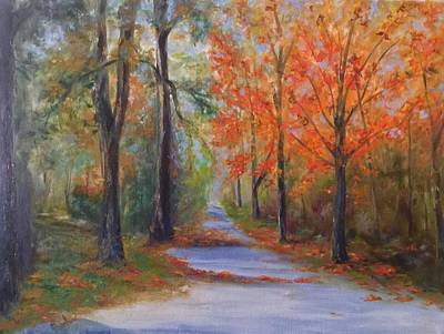Painting - An Autumn Drive by Anne Barberi