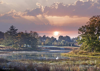 Digital Art - Early Morning Sun Greets Autumn Lansdscape by Ed Dooley