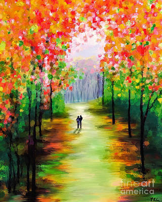 Painting - An Autumn Stroll by Tina LeCour