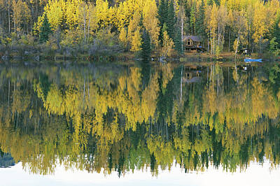 An Autumn View Of A Cabin Reflected Art Print by Rich Reid