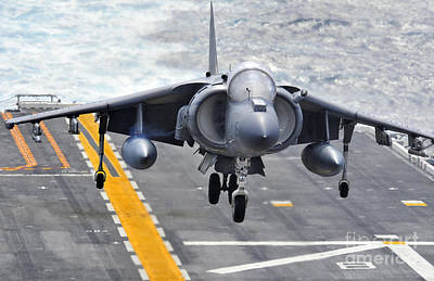 Av-8b Painting - An Av-8b Harrier Approaches The Flight Deck by Celestial Images