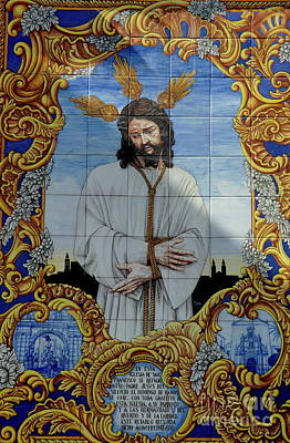 An Azulejo Ceramic Tilework Depicting Jesus Christ Art Print