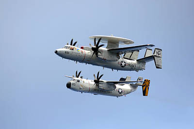 Us Navy Painting - An E-2c Hawkeye Top And A C-2a Greyhound  Us Navy by Celestial Images