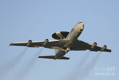 Nato Photograph - An E-3 Sentry Taking Off From The Nato by Timm Ziegenthaler
