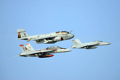 An Ea-6b Prowler And Two F A-18f Super Hornets Us Navy Art Print by Celestial Images