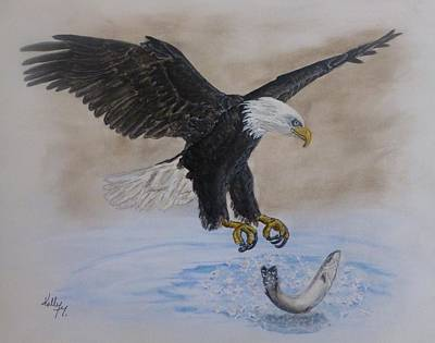 Fishing Painting - An Eagles Easy Catch by Kelly Mills