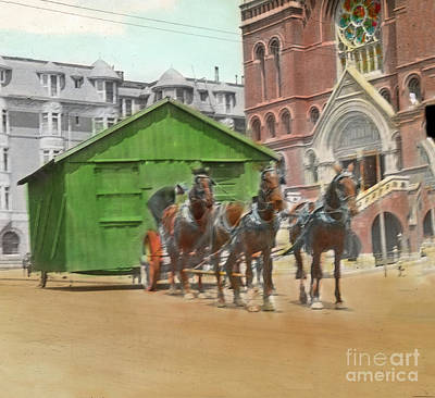 Photograph - An Earthquake Shack Being Moved Through The Streets To A New Hom by California Views Mr Pat Hathaway Archives