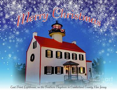 Mixed Media - An East Point Lighthouse Merry Christmas 2 by Nancy Patterson
