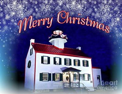 Mixed Media - An East Point Lighthouse Merry Christmas  by Nancy Patterson