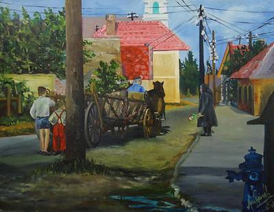 Bullock-cart Painting - An Eastern European Village by Anil Singh