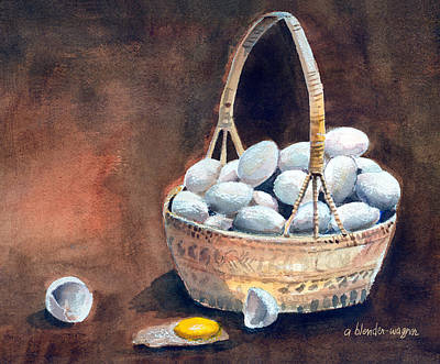 Still Life Mixed Media - An Egg Mishap by Arline Wagner