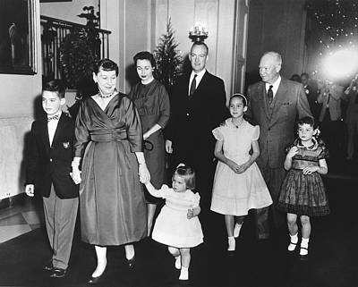 Medium Group Of People Photograph - An Eisenhower Christmas by Underwood Archives