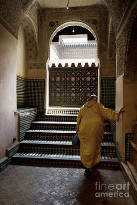 Architectur Photograph - An Elderly Woman Entering The Mosque In Fes, Morocco by Dani Prints and Images