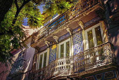 An Elegant Balcony In Lisbon Portugal  Art Print