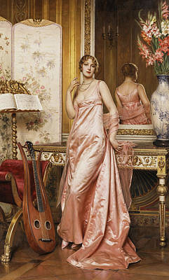 Silk Painting - An Elegant Lady In An Interior by Joseph Frederic Charles Soulacroix
