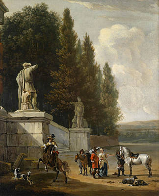 An Elegant Park With Aufbrechender Hunting Party Print by Celestial Images