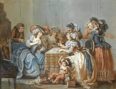Drawing - An Elegant Party Around A Table Watching A Lady Having Her Fortune Told With Cards by Francois-Louis-Joseph Watteau
