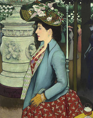 Montmartre Painting - An Elegant Woman At The Elysee Montmartre by Louis Anquetin